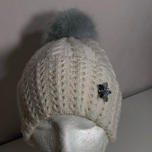 Badgley Mischka Metallic Knit Faux PomPom Beanie